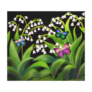 Butterflies on Lily of the Valley Flowers Wrapped Canvas Print