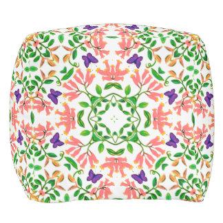 Butterflies on Peach Floral Vines Pillow Cube Pouf