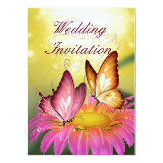 Butterflies on Pink Flower Wedding Invitation