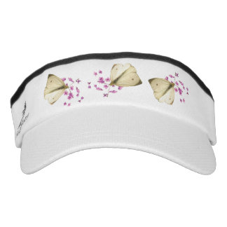 Butterflies on Pink Flowers Headsweats Visors Headsweats Visor