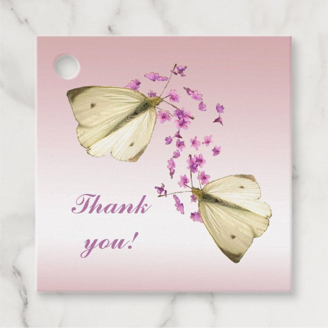 Butterflies on Pink Flowers Thank You Favor Tags