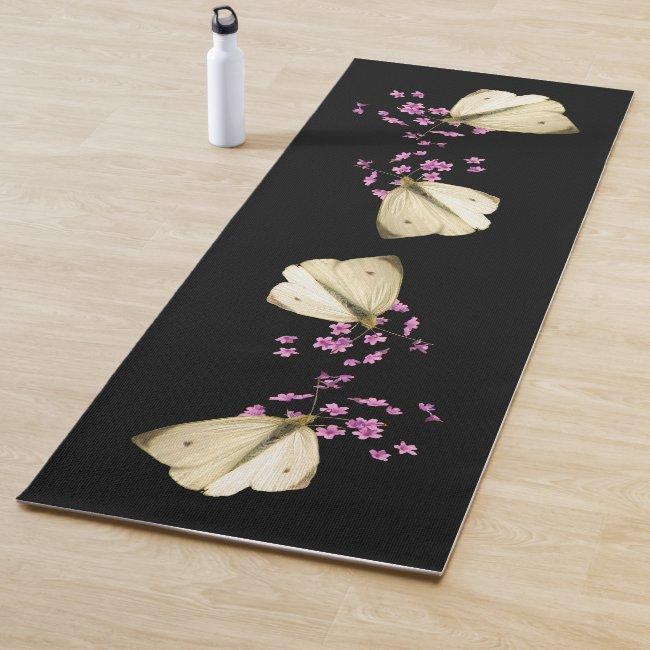 Butterflies on Pink Garden Flowers Floral Yoga Mat