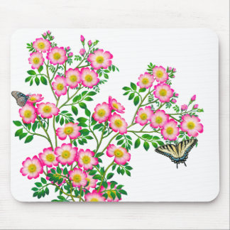 Butterflies on Pink Wild Roses Mousepad