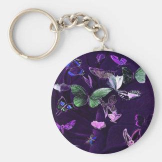 Butterflies On Purple Basic Round Button Keychain