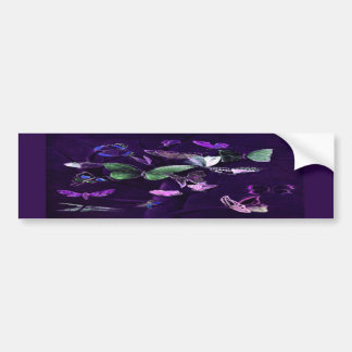 Butterflies On Purple Car Bumper Sticker