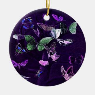 Butterflies On Purple Ceramic Ornament