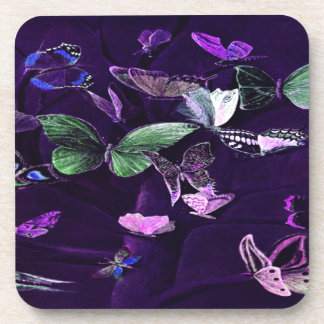 Butterflies On Purple Beverage Coasters