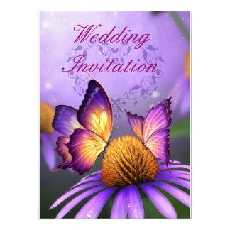 Butterflies on Purple Daisy Wedding Invitation