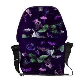 Butterflies On Purple Messenger Bag