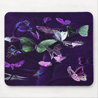 Butterflies On Purple Mouse Pad