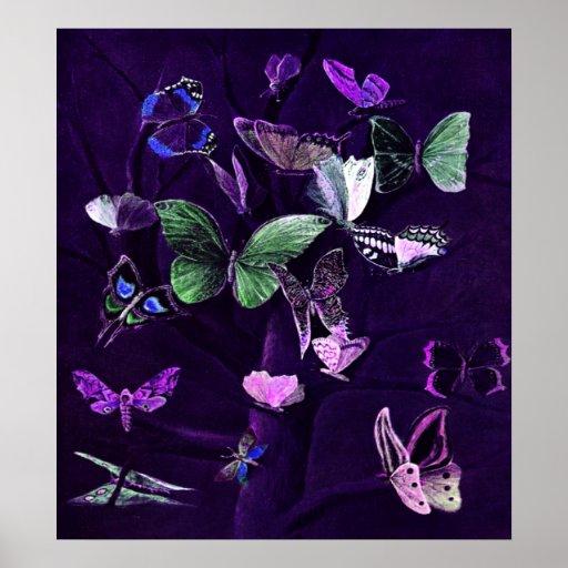 Butterflies On Purple Poster