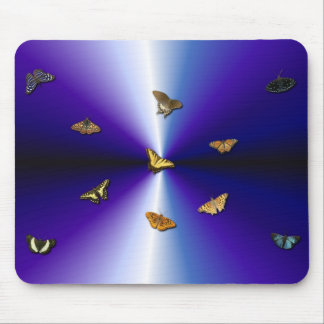 Butterflies on purple rainbow mouse pad