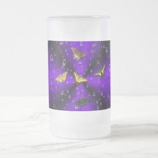 Butterflies on purple rainbow 16 oz frosted glass beer mug