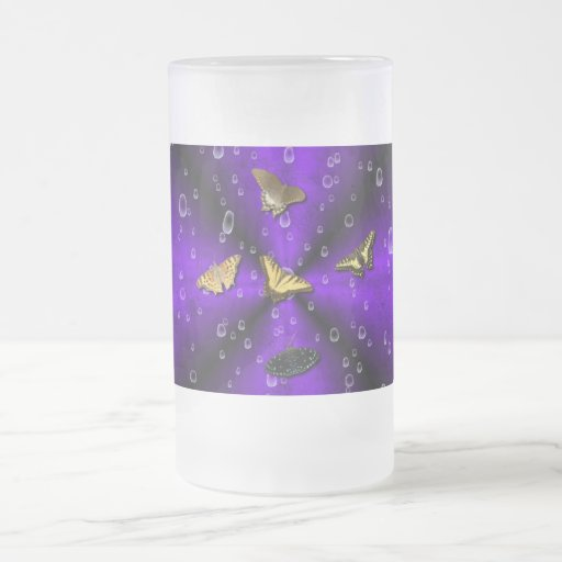 Butterflies on purple rainbow coffee mug