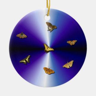 Butterflies on purple rainbow ornament