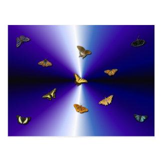 Butterflies on purple rainbow postcard