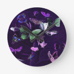 Butterflies On Purple Round Wall Clock
