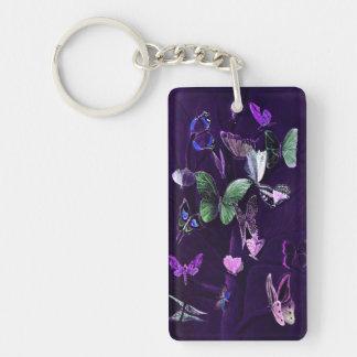 Butterflies On Purple Single-Sided Rectangular Acrylic Keychain