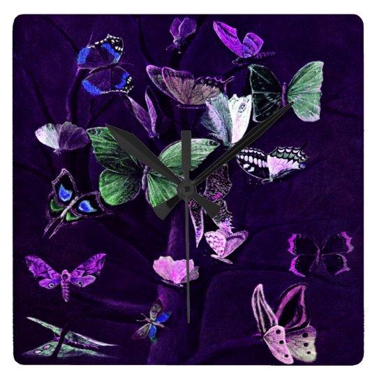 Butterflies On Purple Square Wall Clock