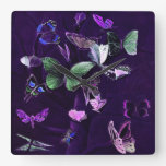 Butterflies On Purple Square Wallclock
