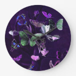 Butterflies On Purple Wallclocks