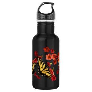 Butterflies on Red Flowers 18oz Water Bottle