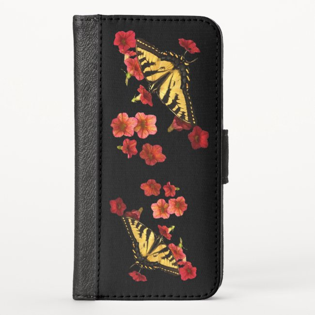 Butterflies on Red Flowers iPhone X Wallet Case