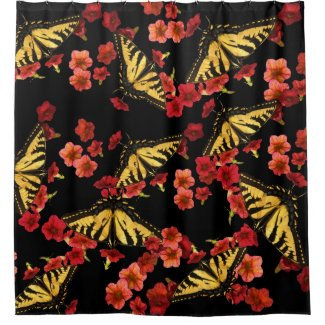 Butterflies on Red Flowers Shower Curtain
