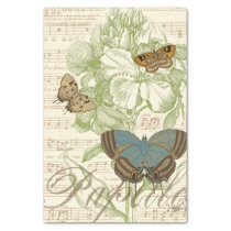 Butterflies on Sheet Music with Floral Design