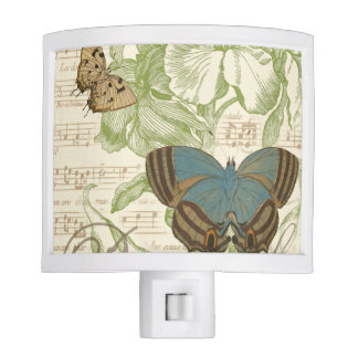 Butterflies on Sheet Music with Floral Design Night Light