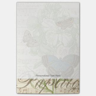 Butterflies on Sheet Music with Floral Design Post-it® Notes