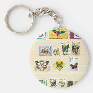 Butterflies on stamps 1 key chains
