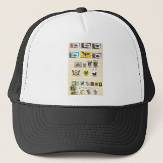 Butterflies on stamps 1 trucker hat
