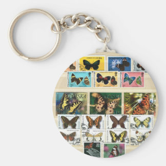 Butterflies on stamps 2 key chains