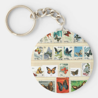 Butterflies on stamps 3 keychains