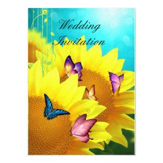 Butterflies on Sunflowers Wedding Invitation