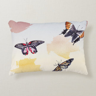 Butterflies on Watercolor Patches Accent Pillow