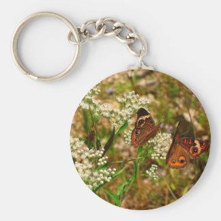 Butterflies on White Flowers Keychain