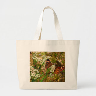 Butterflies on White Flowers Tote Bags