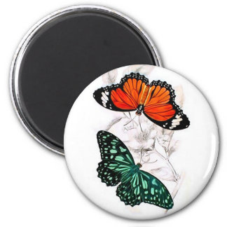 Butterflies - Orange and Green 2 Inch Round Magnet