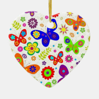 Butterflies Double-Sided Heart Ceramic Christmas Ornament