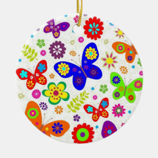 Butterflies Double-Sided Ceramic Round Christmas Ornament
