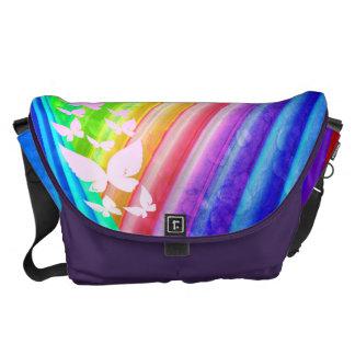 Butterflies Over Rainbow Design Courier Bags