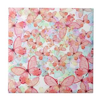 Butterflies Pastel Mauve Mint Green Aqua Cream Tile