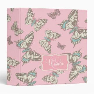 Butterflies pattern pink add your name folder 3 ring binder