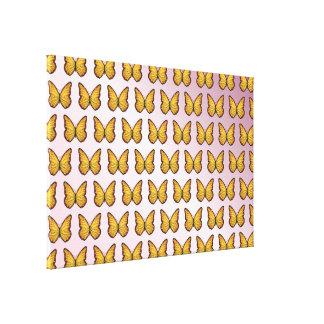 Butterflies pattern pink gradient canvas print