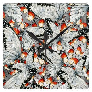 Butterflies pattern square wall clock