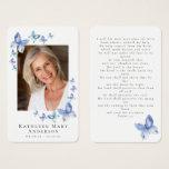 Butterflies Photo Funeral Memorial Prayer Card