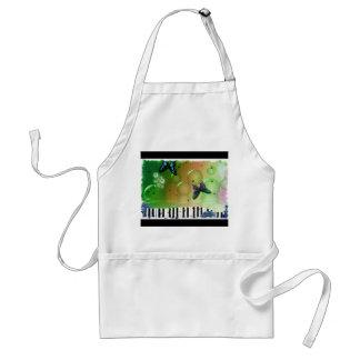 Butterflies Piano Keys Adult Apron