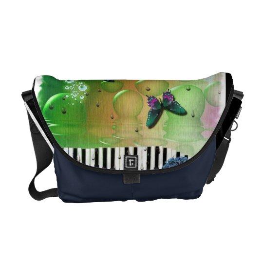 Butterflies Piano Keys Courier Bag